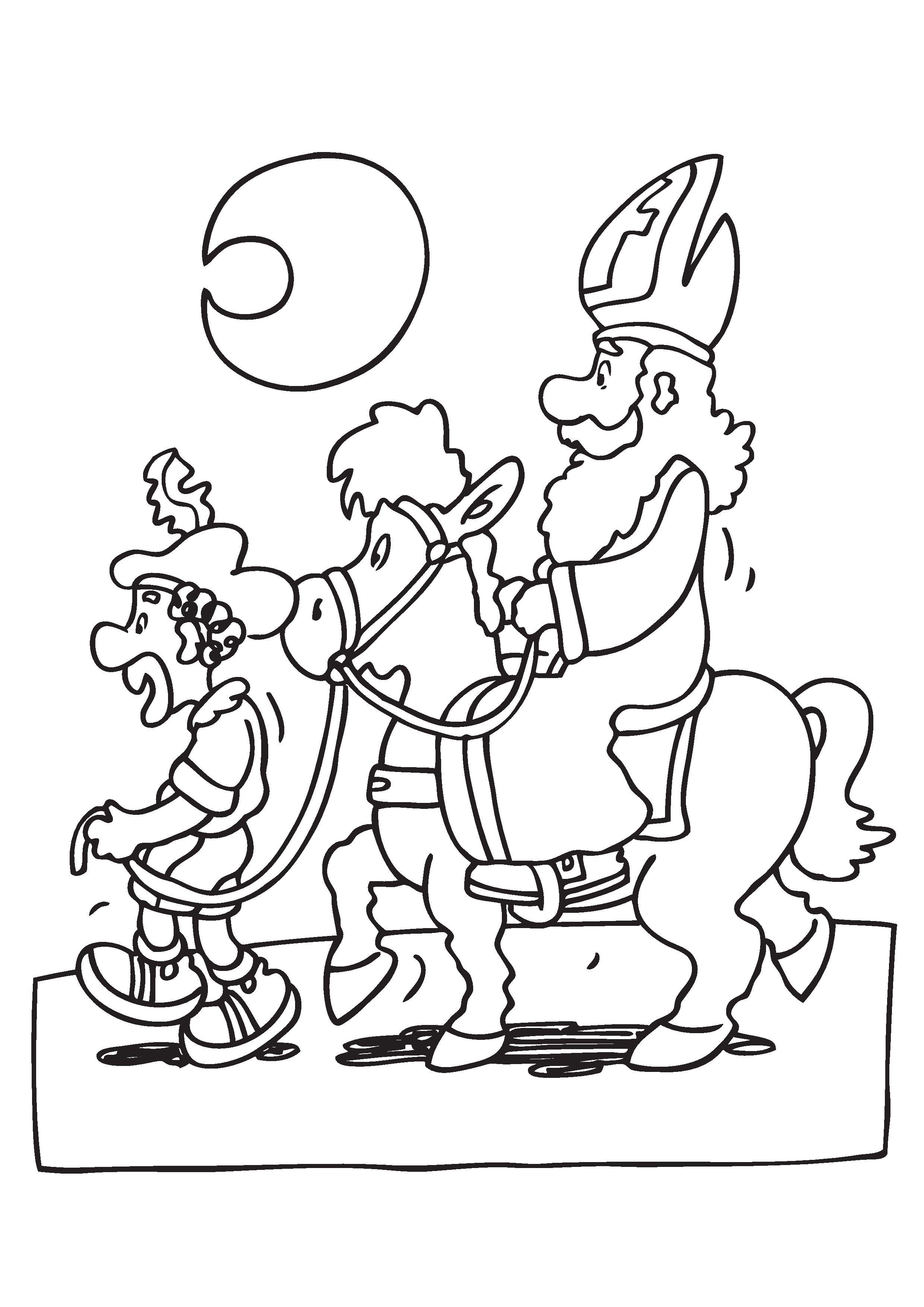 kleurplaat sinterklaas paard 2020 voor peuters en kleuters