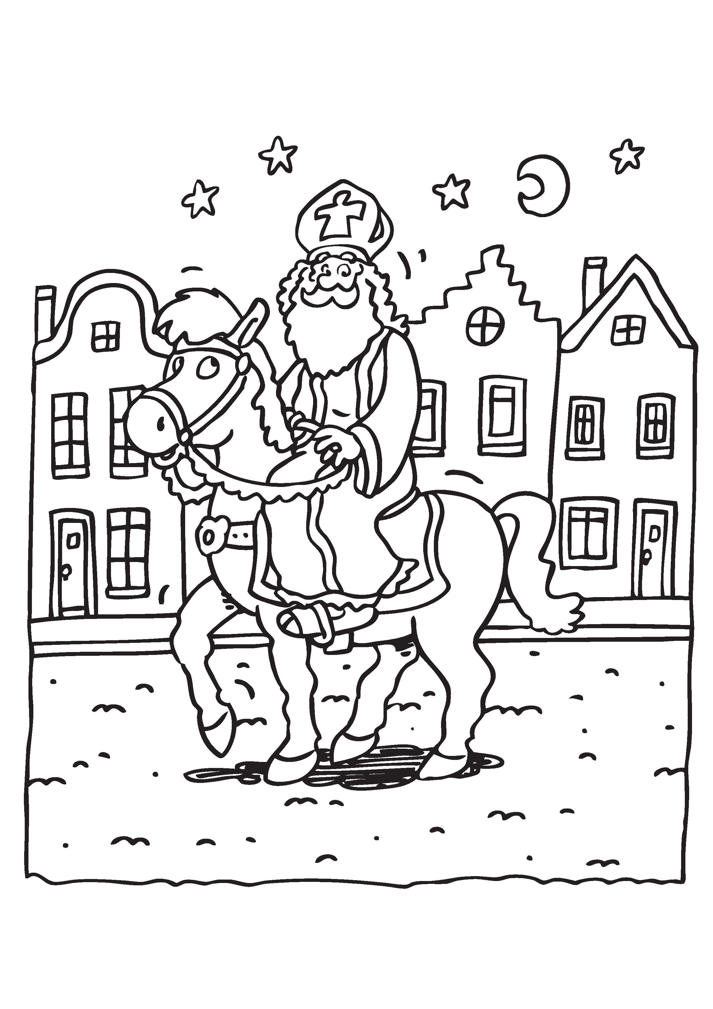 Gratis Kleurplaten Sint En Piet.Kleurplaat Sinterklaas Paard 2020 Voor Peuters En Kleuters