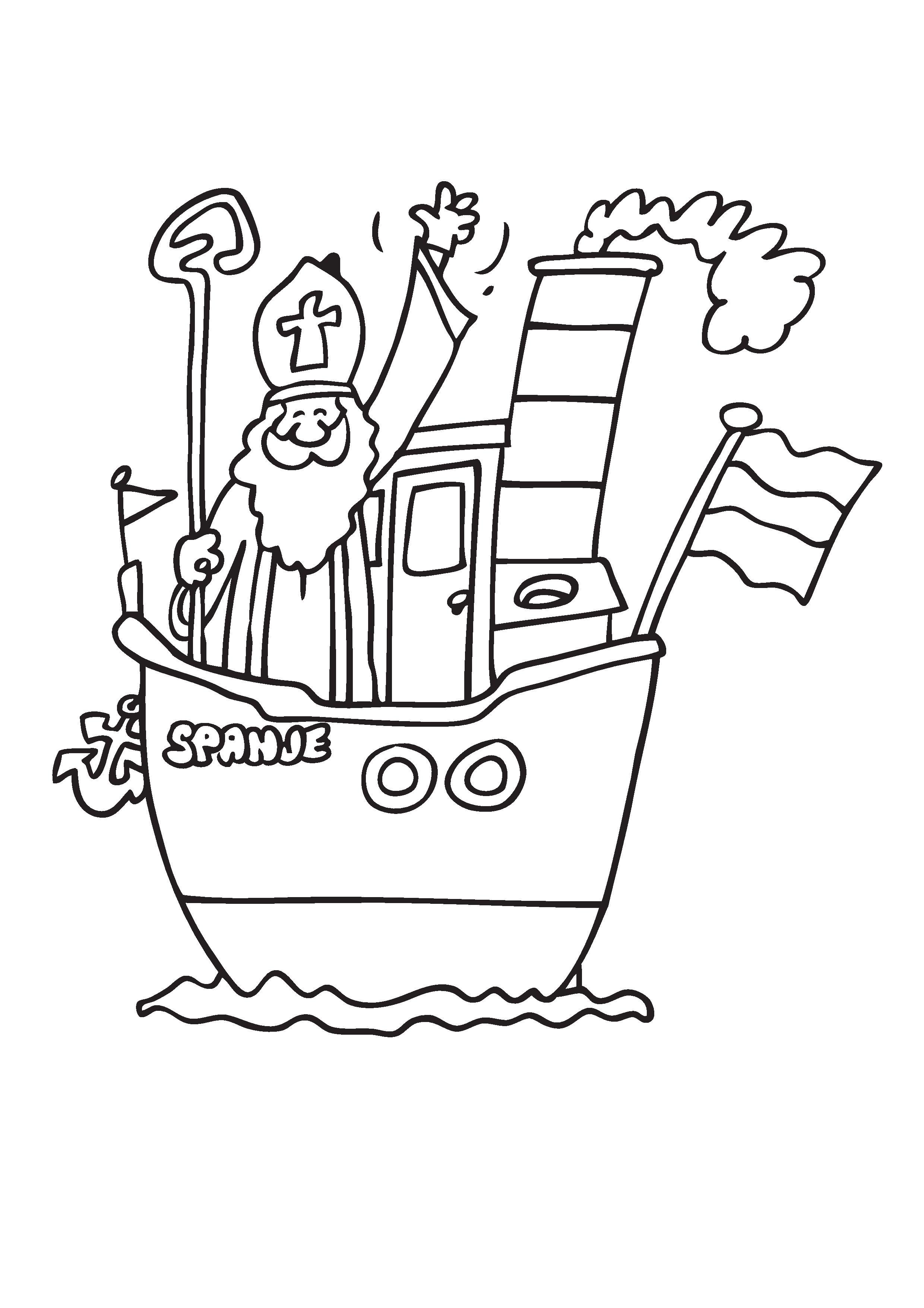 Kleurplaten Sinterklaas Stoomboot.Kleurplaat Sinterklaas Stoomboot 2019 Voor Peuters En Kleuters